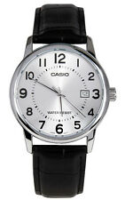 Casio Men's Analog Quartz Stainless Steel Black Leather Watch MTPV002L-7B