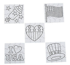 Pack of 12 - Colour Your Own Patriotic USA Puzzles July 4th Party Bag Fillers