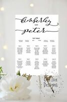 Personalised Wedding Table Plan / Seating Chart A3 A2 A1