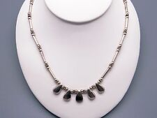 """Handmade Bohemian Bead Silver Moveable Link Chain Adjustable Necklace 16"""" - 18"""""""