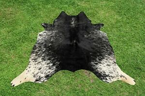 Small Cowhide Rugs Black Real Hair on Cow Hide Skin Area Rug Leather 5 x 4 ft