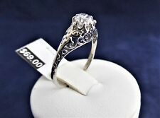 SOLID STERLING SILVER FILIGREE STYLE RING 4.5mm round Cubic Zirconia 1.4gr.