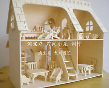 Wooden puzzle doll house with4rooms & wood 34furnitures