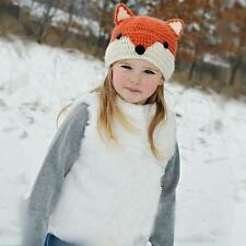 Winter Warm Baby Girls Knitted  Crocheted Wool Cute Fox Hats Toodler Hooded Caps