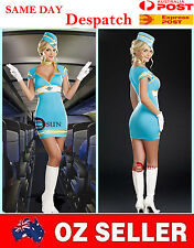 Blue AIR HOSTESS Airline Stewardess Costumes Halloween Party Fancy Mini Dress
