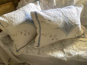 """jcpenney home collection quilted patchwork pillowsham set 20"""" x 26"""" blue ivory"""