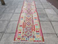 Kilim Old Traditional Hand Made Afghan Oriental Blue Long Kilim Runner 348x93cm