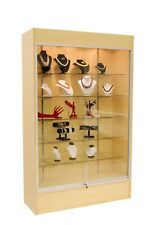 "Wall Glass Display Case Showcase w/ Light 78"" - Maple New York Pickup"