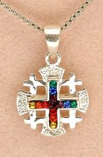 Jerusalem Cross Pendant 925 Sterling Silver With Mixed Gemstone Colors.