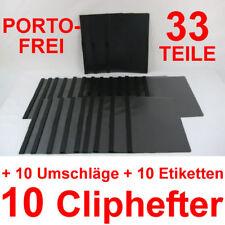 10 Cliphefter Bewerbungsmappen + 10 Umschläge + Eti's - Schwarz - Set Bewerbung
