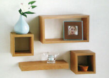 G-0007 Oak Wood Set of 4 Floating Wall Cube Shelf Storage Display Unit Shelves