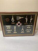 Shadow Box Sailors Knots & Rope Display Nautical Wall Decor Wooden Frame 16 X 12
