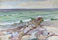 Acquerello Impressionista Spiaggia di Heiligendamm Costa Del Mar Baltico Firmato