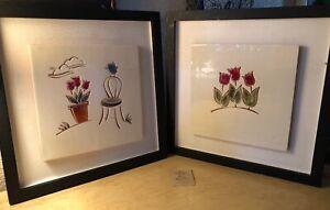 Set Of 2 Framed Terracotta Tile Art By Red Step Studio Tulips Country Bird Scene