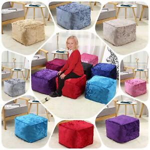 Crushed Velvet Bean Bag Cube Foot Stool Rest Pouffe Ottoman Beanbag 13 Colours