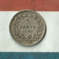 1876 Netherlands 5 Cents- 64% AG- Key Year- 200,000 Minted Only- Awesome Shape~