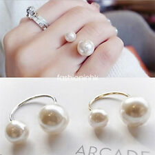 Double Oversized Faux Pearl Statement Ring Adjustable Fashion Vogue Jewelry Hot