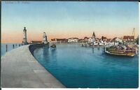 Ansichtskarte Lindau/Bodensee - Partie am Hafen mit Blick auf Stadt - coloriert