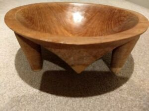 """Vintage kava bowl from 1960's Fiji, 12"""" in diameter, approx. 4 1/2"""" tall"""