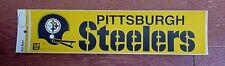 VINTAGE 1970's PITTSBURGH STEELERS 2BAR HELMET BUMPER STICKER LARGE Unsold Stock