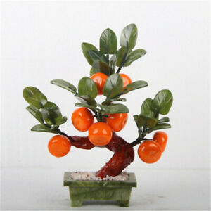 New Chinese Feng Shui Jade Tangerine Bonsai Hardstone Gemstone Tree Fruit Plant