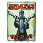 NED KELLY WALL SIGN - Corrugated Tin - Man Cave Bar Garage Fathers Day