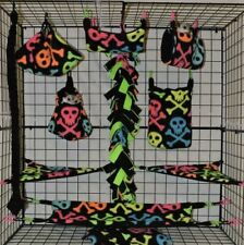 Neon Skull and Crossbone*15 PC Sugar Glider Cage set * Rat * double layer Fleece