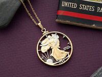 "Walking Liberty Half Dollar Pendant Hand Cut U. S. Coin  1 1/8""Dia. , ( # 322 )"