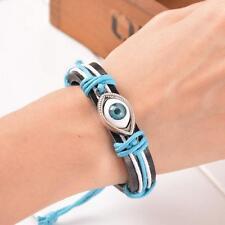 Blue Evil Eye Punk Braided Bracelet Leather Bangles