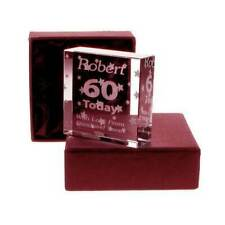 Engraved 60th birthday gift glass block decorative gift