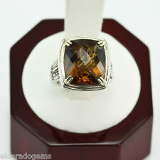 CHARLES KRYPELL 12.99 CT. SMOKEY TOPAZ COCKTAIL RING 14K YELLOW GOLD & SILVER