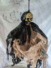 Mini scary skeleton hanging Halloween prop chain grim reaper as is