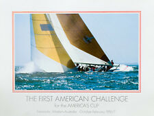 FIRST AMERICAN CHALLENGE America's Cup 1987 poster, signed - FEBRUARY SALE