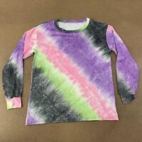 Women's Size Medium Long Sleeve Galaxy Print Crew Neck Athletic Shirt