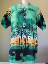 Green Short Sleeve Palm Trees Beach Hawaiian Print Tailor Pal Love Shirt Men XL