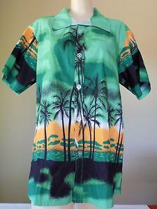 Green Short Sleeve Palm Trees Beach Hawaiian Print Tailor Pal Love Shirt Men XL
