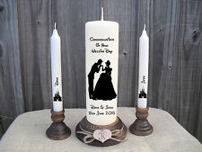 Personalised Wedding Unity Candle Set Disney Cinderella Castle Gift Keepsake