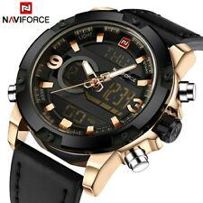 Naviforce marca de lujo hombres analógico digital relojes deportivos de cuero
