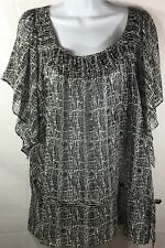 WORTHINGTON Dress Shirt Blouse Women Plus Sz. 2X Sheer Black White EUC