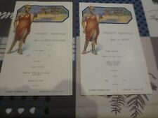 Paquebot Albertville Congo Belge - menus 1er janvier 1933