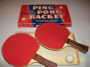 Vintage 1950's Parker brothers Ping Pong Racket - Sponge Rubber In Box Nice!