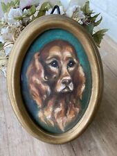 More details for adorable original painting red setter dogs dog portrait framed ready to hang