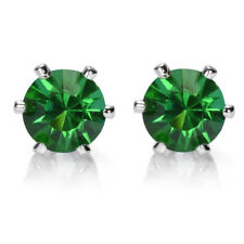 Sale! Lady Gift Round Cut Green Emerald 18K White Gold Plated Gp Stud Earrings