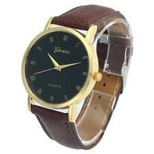 Ladies Fashion Gold Geneva Quartz Black Faced Brown Band Wrist Watch.(Aussie)