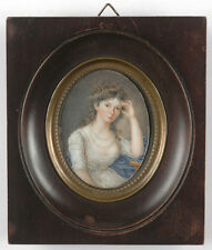 """Portrait of a young lady from the Directory period"", fine French miniature"