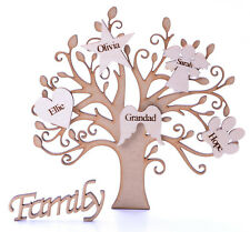 Wooden MDF Family Tree Shape with Personalised Hearts & Family sign