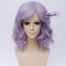 35cm Light Purple Curly Party Hair Lolita Women Anime Cosplay Wig + Cap