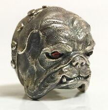 Scott Kay sz 7.5 SIlver 40g Garnet Eyes Bulldog Ring Womens Mens Unisex Gift NWT