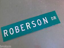 """Vintage ORIGINAL ROBERSON Street Sign 36"""" X 9"""" White Lettering on Green Ground"""