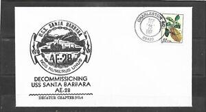 1998 Decommissioning Cachet USS Santa Barbara AE-28 Naval Cover, Charleston, SC